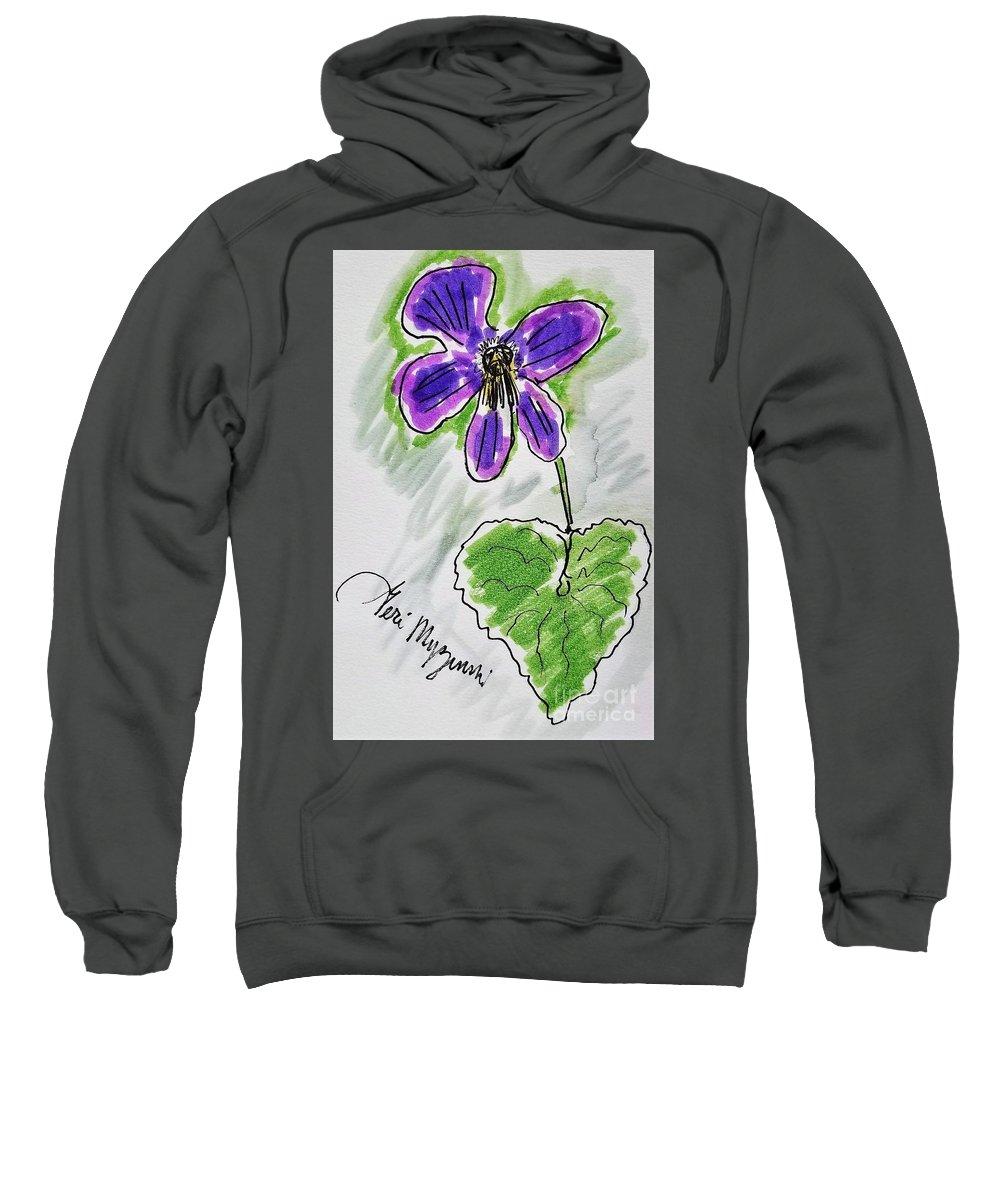 Wild Violet Sweatshirt featuring the mixed media Wild Violet by Geraldine Myszenski