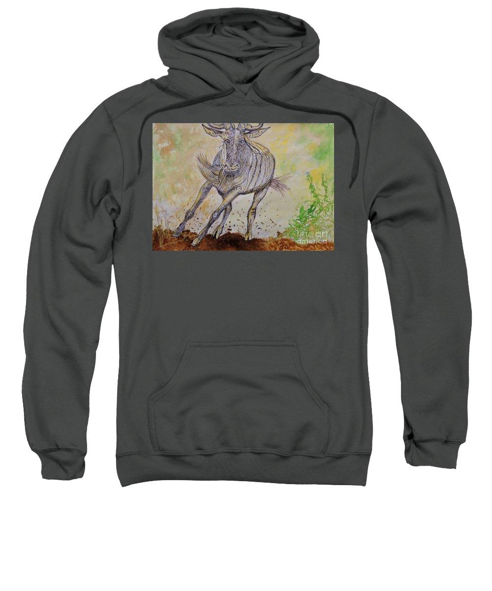 Wildebeest Sweatshirt featuring the mixed media Wildebeest by Caroline Street