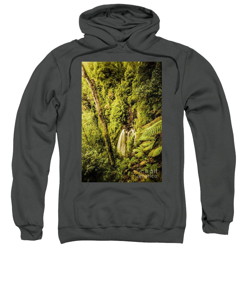 Rainforest Sweatshirt featuring the photograph Wilderness Falls by Jorgo Photography - Wall Art Gallery
