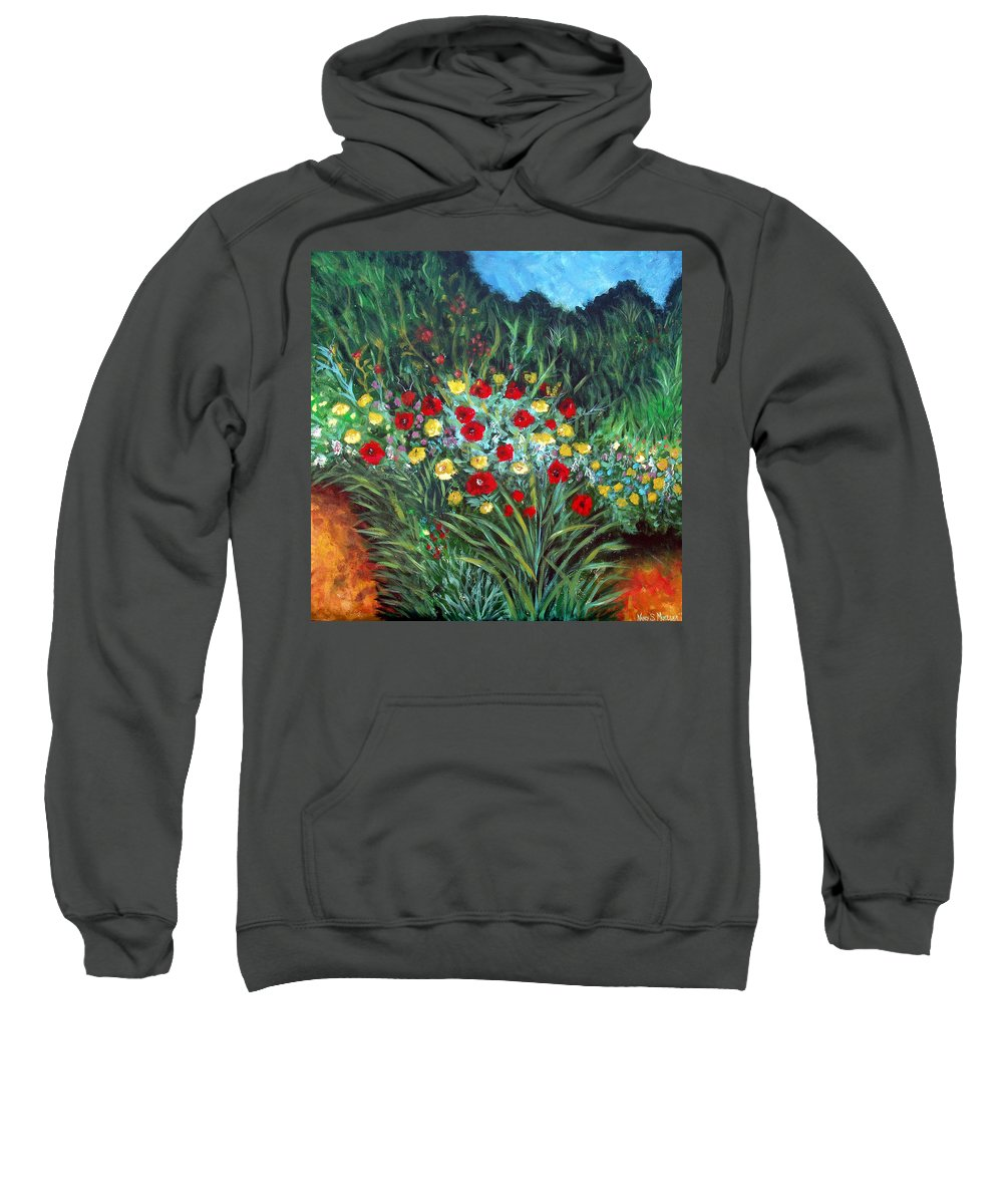 Abstract Sweatshirt featuring the painting Wildflower Garden 1 by Nancy Mueller