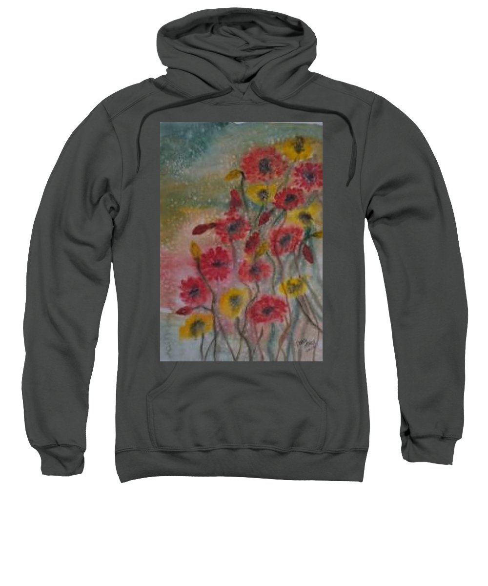 Watercolor Sweatshirt featuring the painting WILDFLOWERS still life modern print by Derek Mccrea