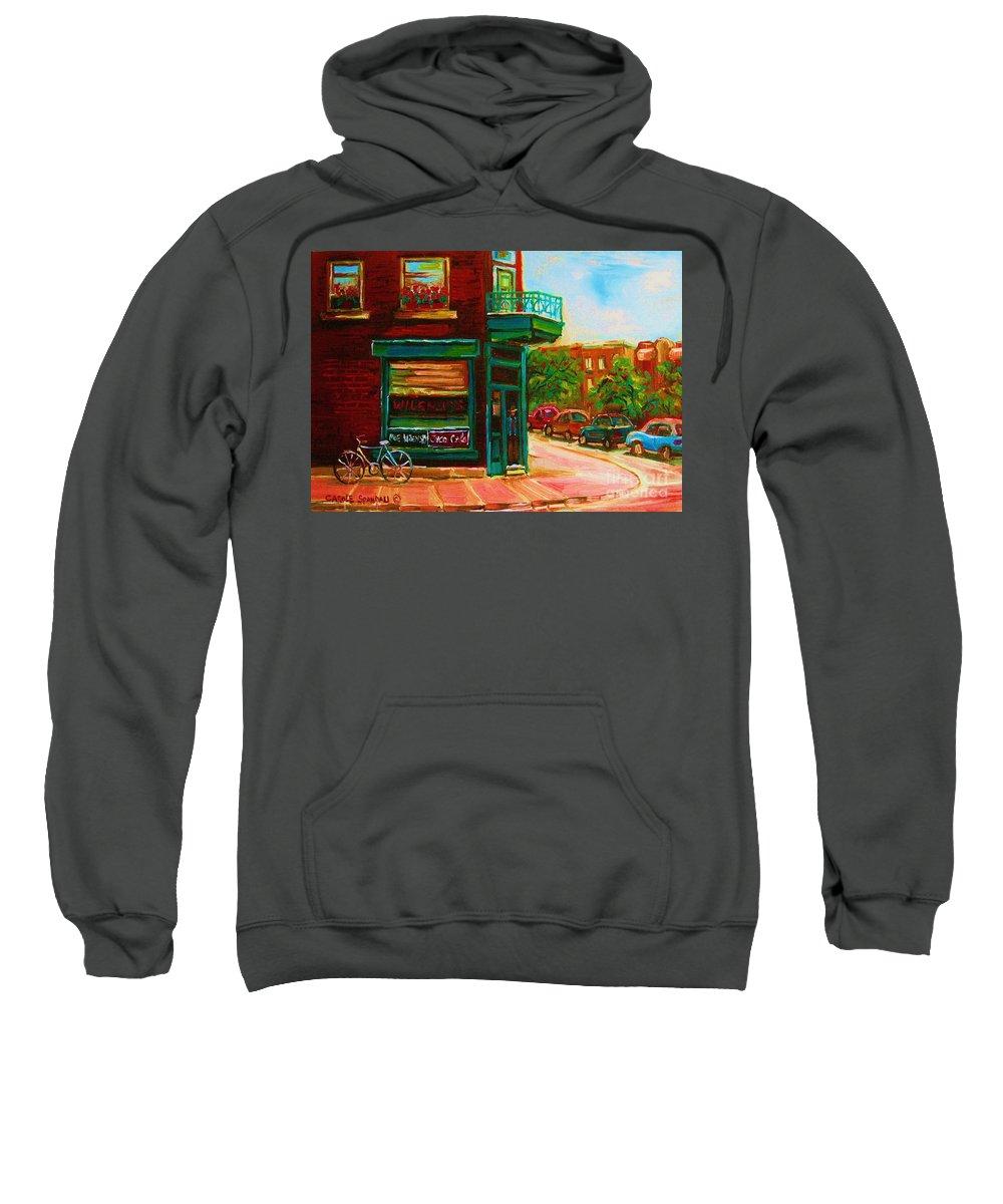 Wilenskys Sweatshirt featuring the painting Wilenskys With Red Geraniums by Carole Spandau