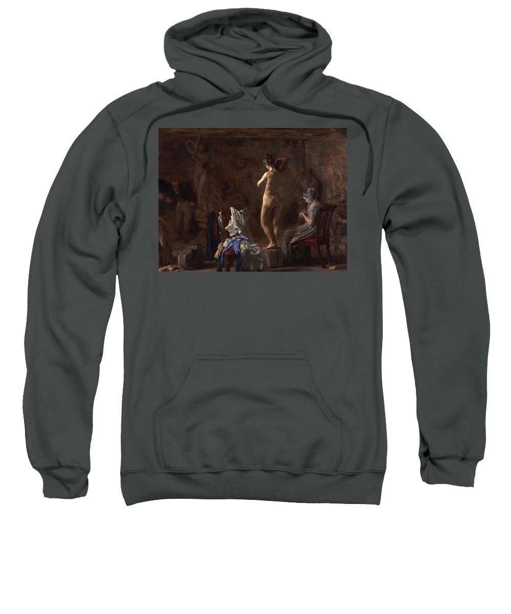 America Sweatshirt featuring the painting William Rush Carving His Allegorical Figure by Thomas Eakins