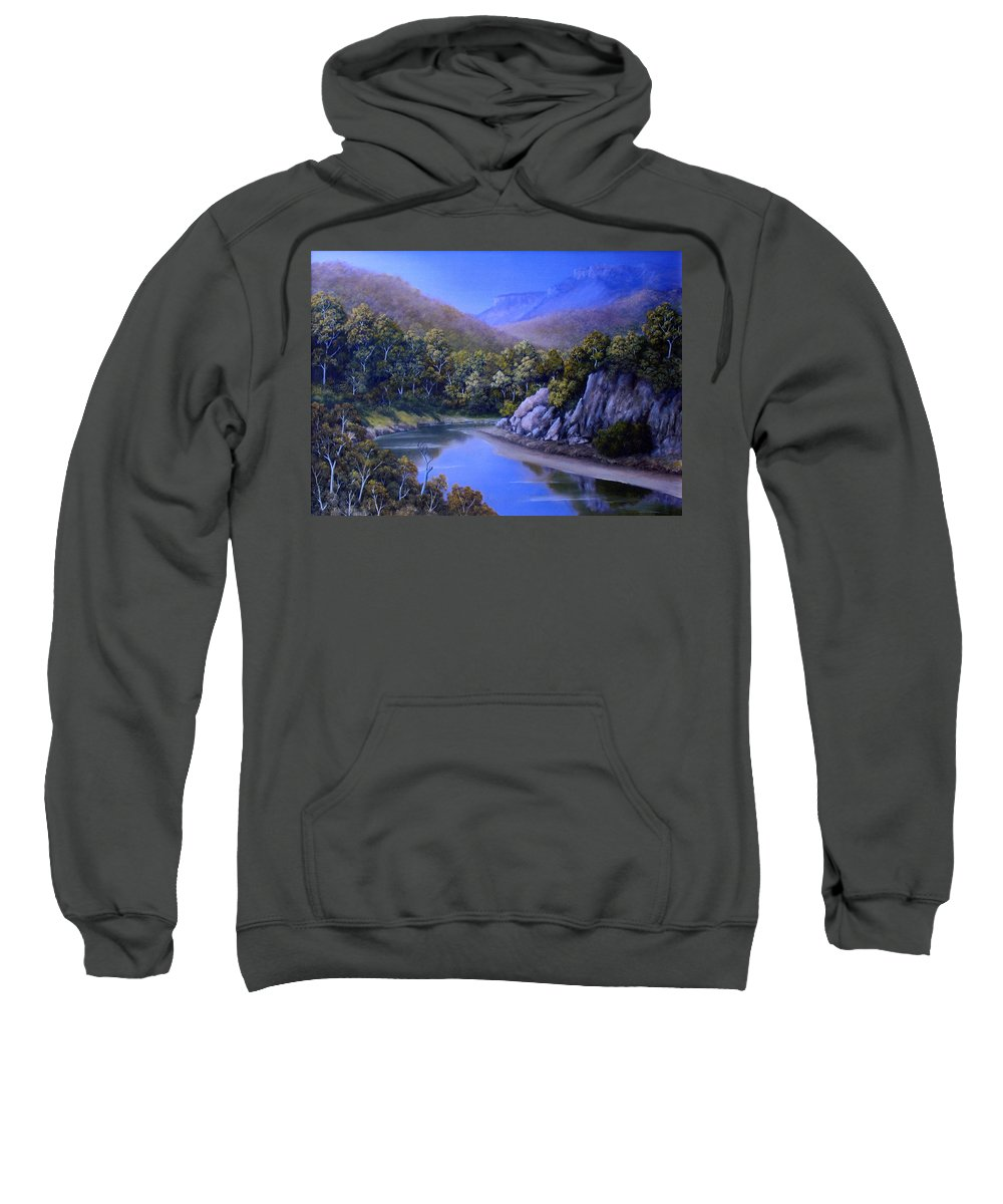 River Oil Painting Sweatshirt featuring the painting Winding River by John Cocoris