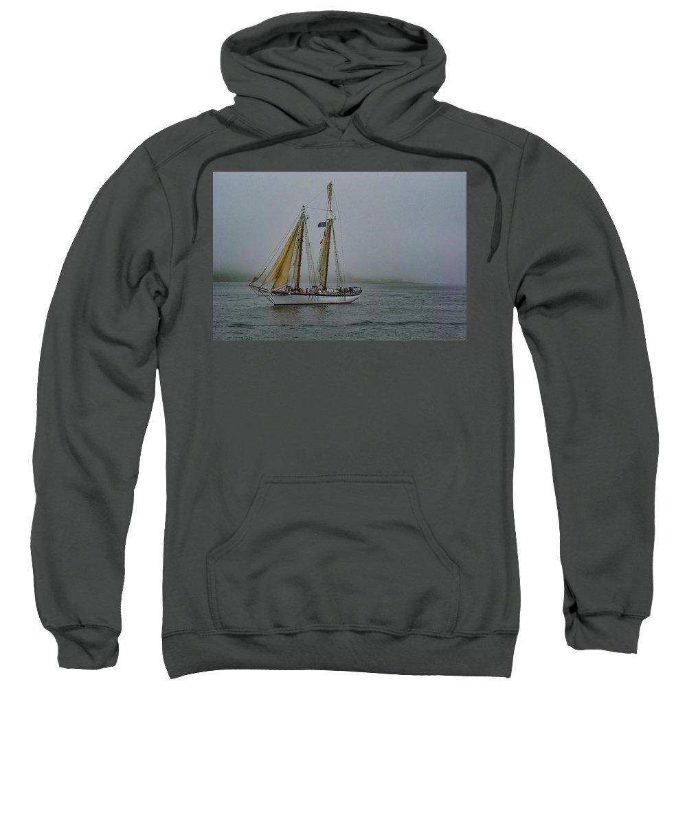 Windjammer Sweatshirt featuring the photograph Windjammer In The Mist by Jesse MacDonald