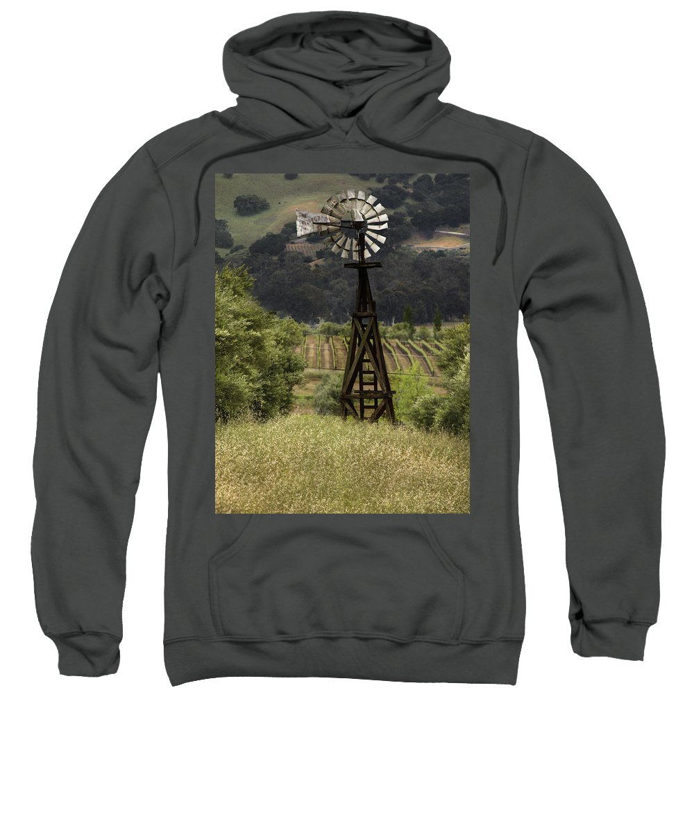 Landscape Sweatshirt featuring the photograph Windmill And Vineyards by Karen W Meyer