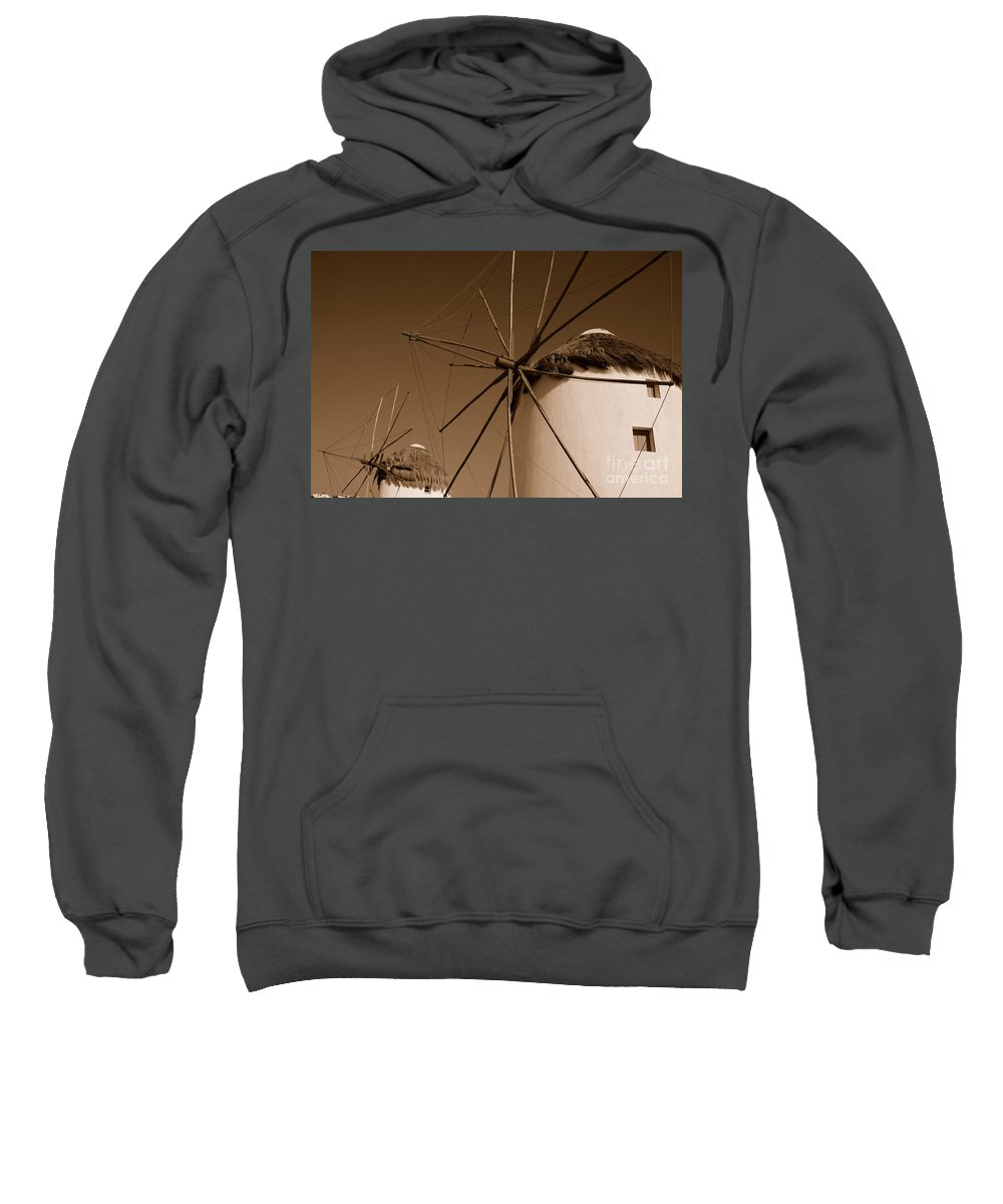 Mykonos Sweatshirt featuring the photograph Windmills In Sepia by Joe Ng