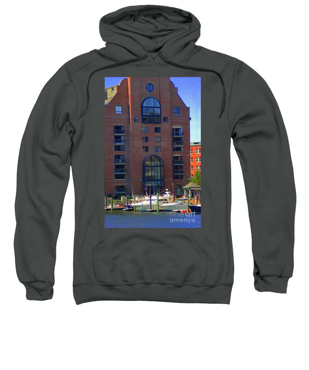 Building Sweatshirt featuring the photograph Window Reflections by Kathleen Struckle