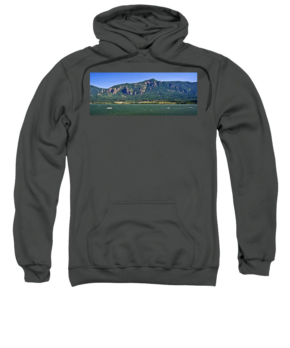 Columbia Gorge Sweatshirt featuring the photograph Windsurfing In The Gorge by Albert Seger