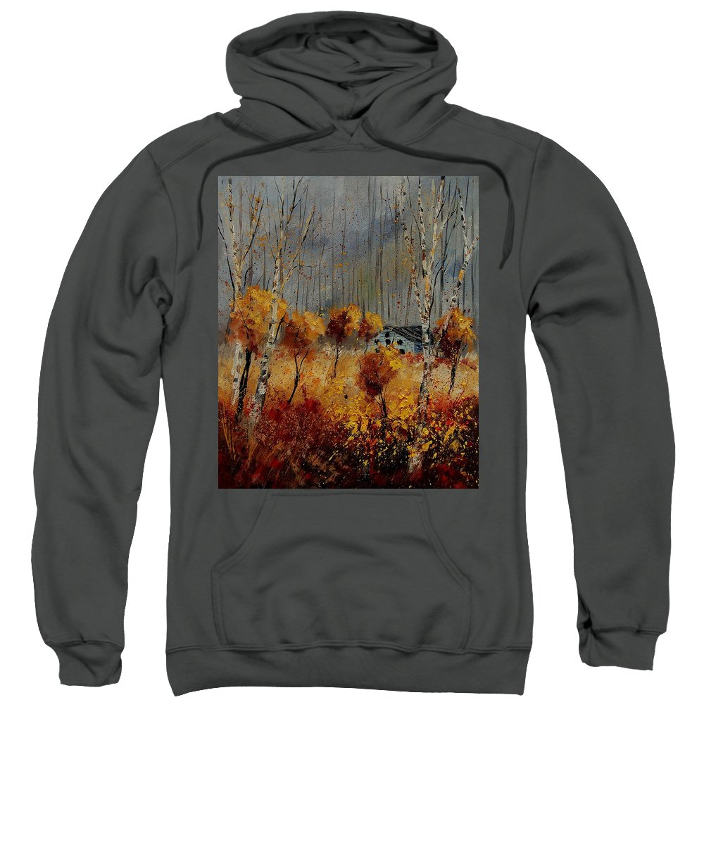 Tree Sweatshirt featuring the painting Windy Autumn Landscape by Pol Ledent
