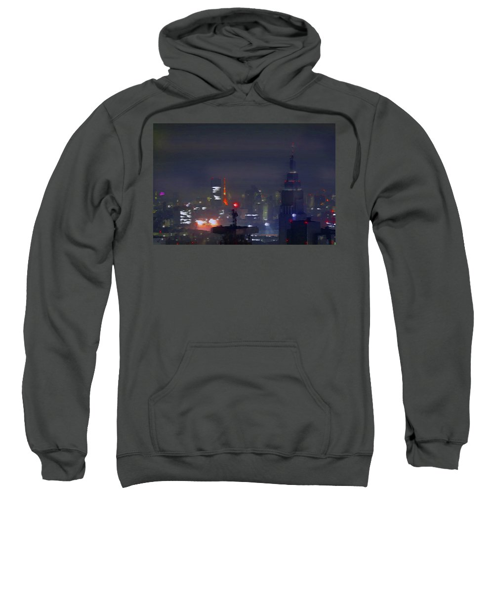Abstract Sweatshirt featuring the digital art Windy Night Lights Abstract by Shelli Fitzpatrick