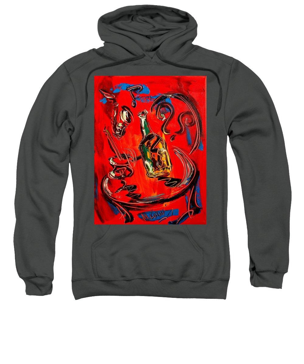 Newyork Sweatshirt featuring the painting Wine Jazz by Mark Kazav