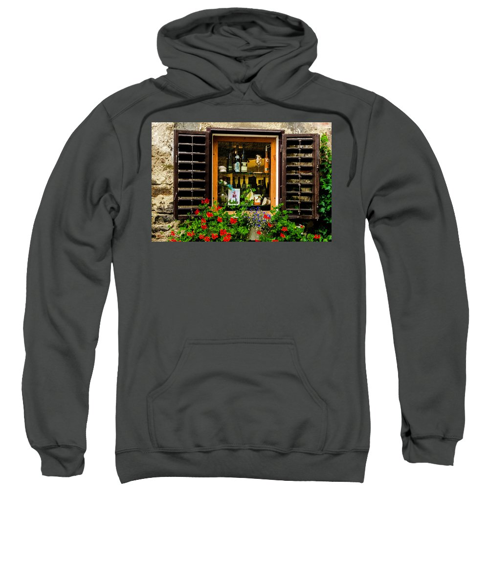 Wine Sweatshirt featuring the photograph Wine Window by Wolfgang Stocker