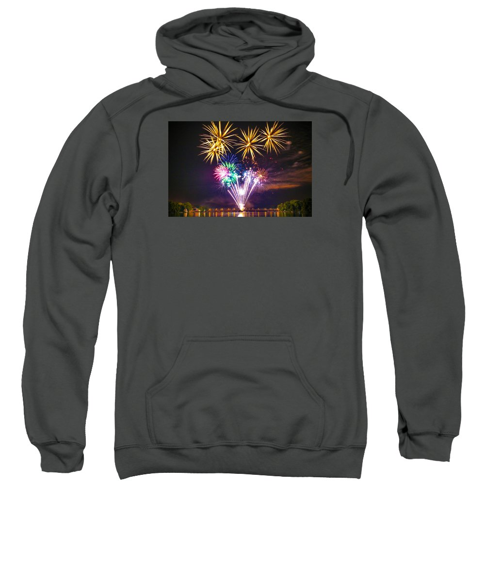 Sweatshirt featuring the photograph Wing Dam Fireworks by Matt Stover