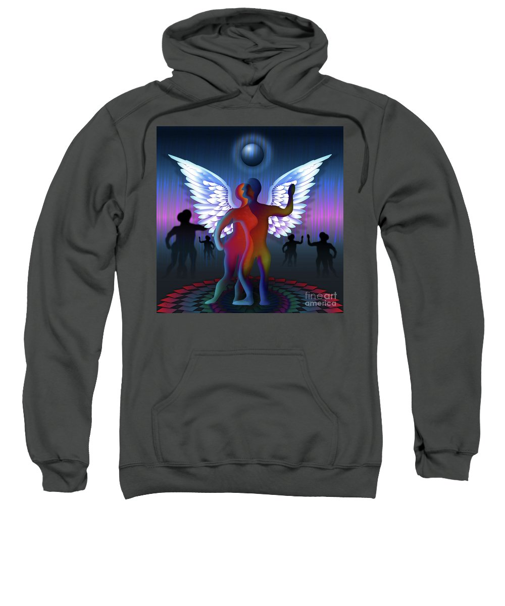 Square Sweatshirt featuring the digital art Winged Life by Rosa Cobos