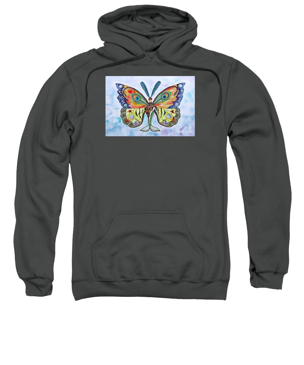 Butterfly Sweatshirt featuring the painting Winged Metamorphosis by Lucy Arnold