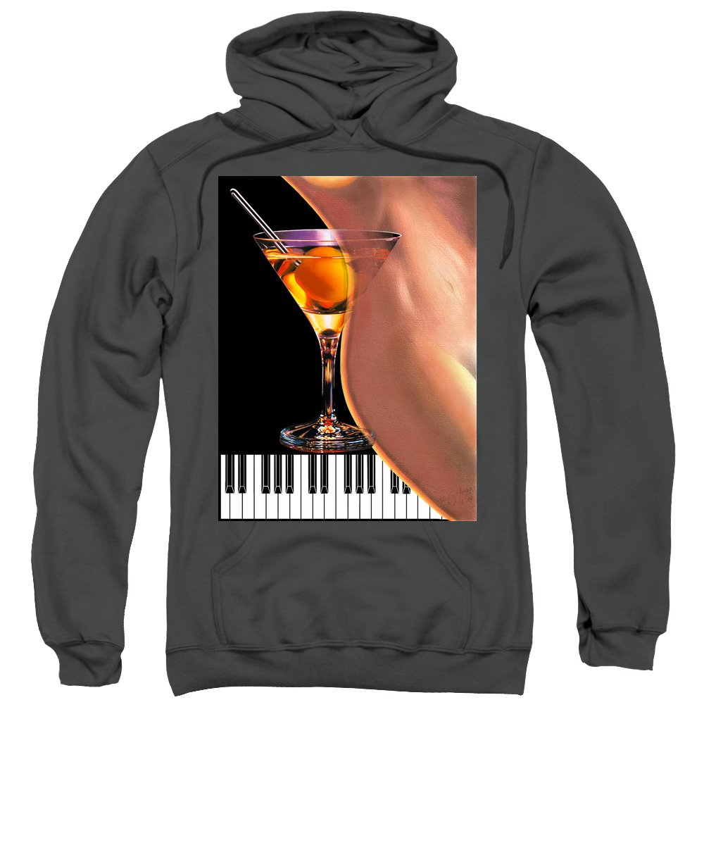 Music Sweatshirt featuring the painting Winning Notes by James Mingo