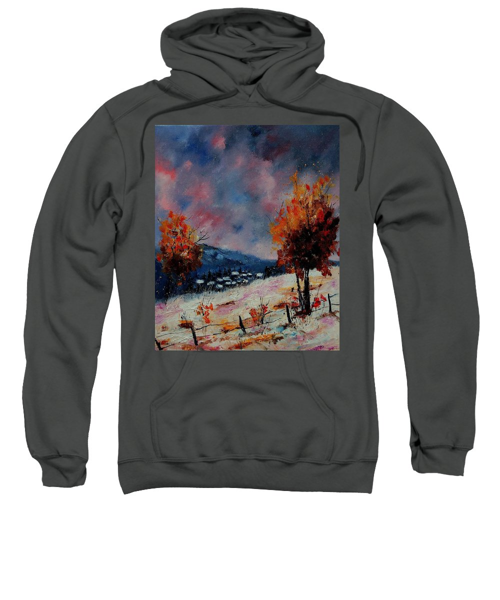 Winter Sweatshirt featuring the painting Winter 560110 by Pol Ledent