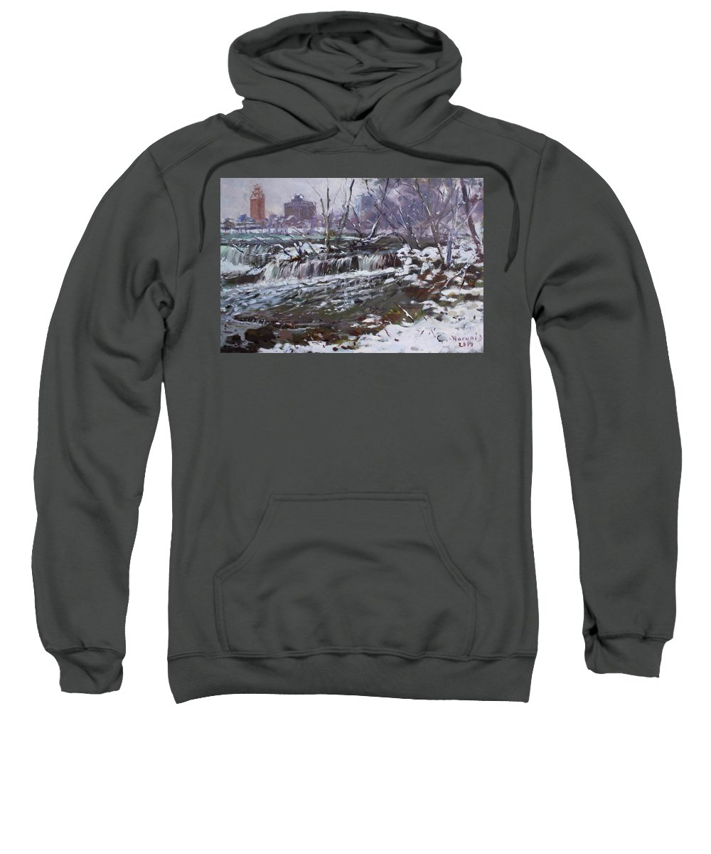 Christmas Eve Sweatshirt featuring the painting Winter At Goat Island by Ylli Haruni