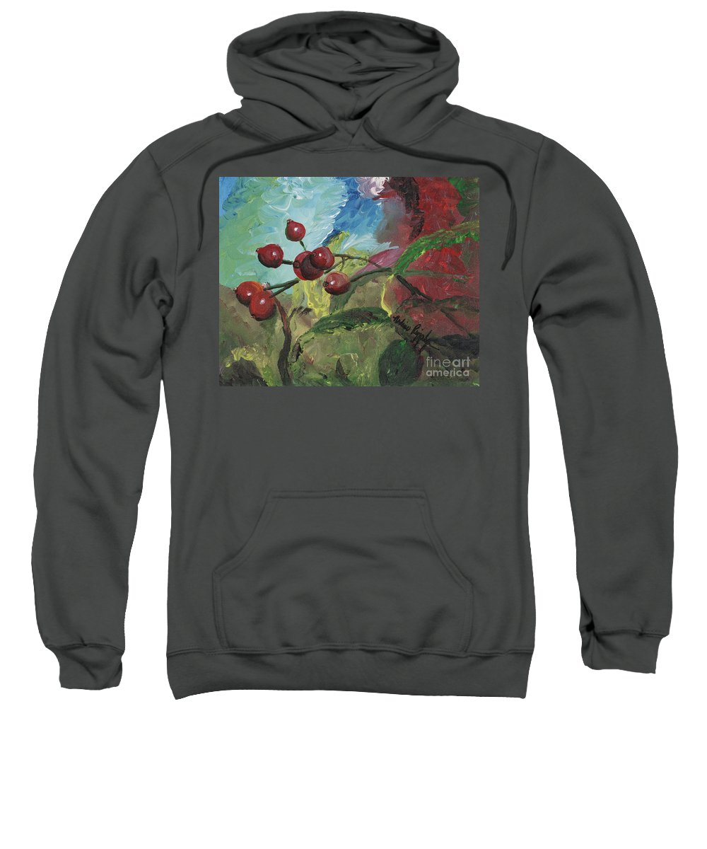Berries Sweatshirt featuring the painting Winter Berries by Nadine Rippelmeyer