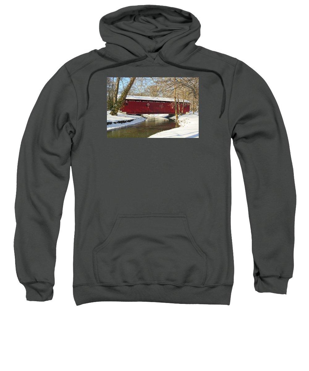 Covered Bridge Sweatshirt featuring the photograph Winter Bridge by Margie Wildblood