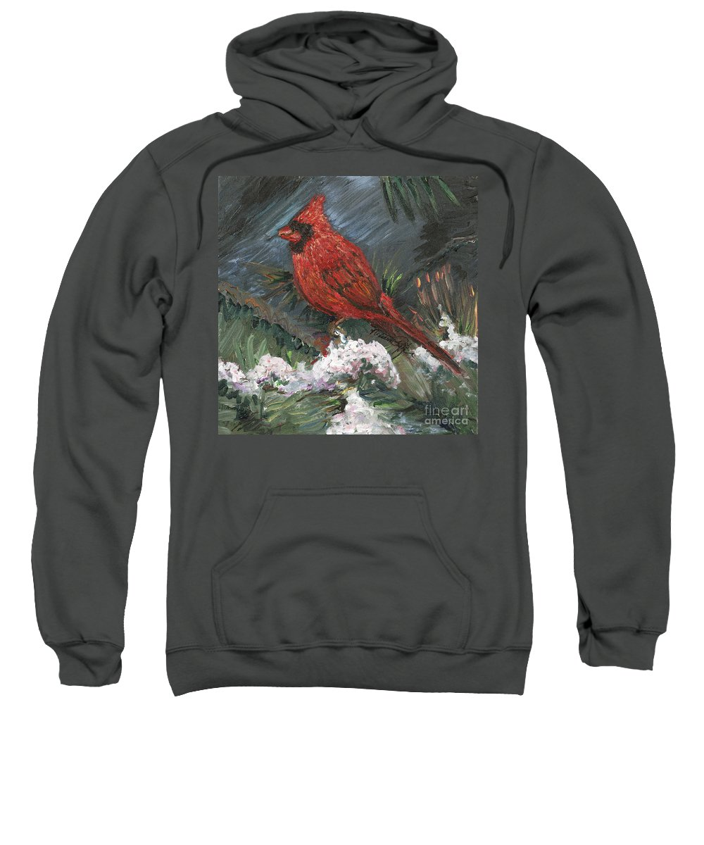 Bird Sweatshirt featuring the painting Winter Cardinal by Nadine Rippelmeyer