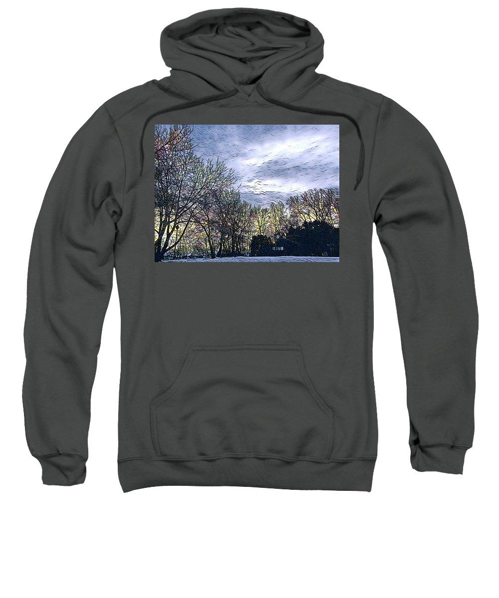 Winter Day Sweatshirt featuring the digital art Winter Day 3 by Brenda Plyer