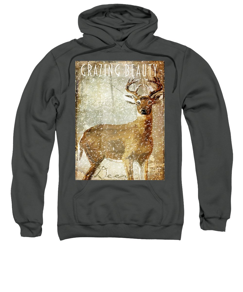 Winter Game Sweatshirt featuring the painting Winter Game Deer by Mindy Sommers