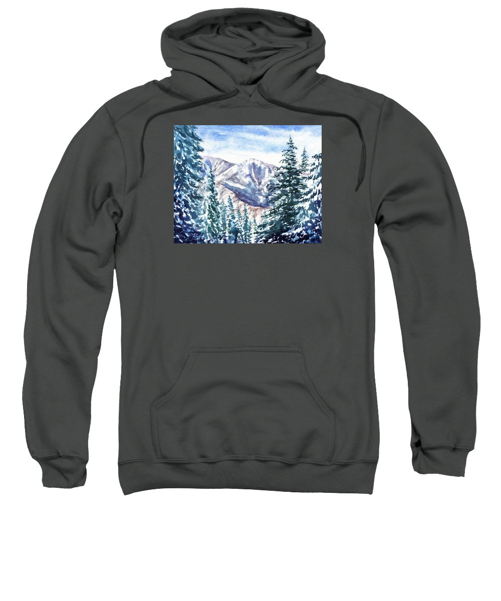 Winter In The Mountains Sweatshirt featuring the painting Winter In The Mountains by Irina Sztukowski