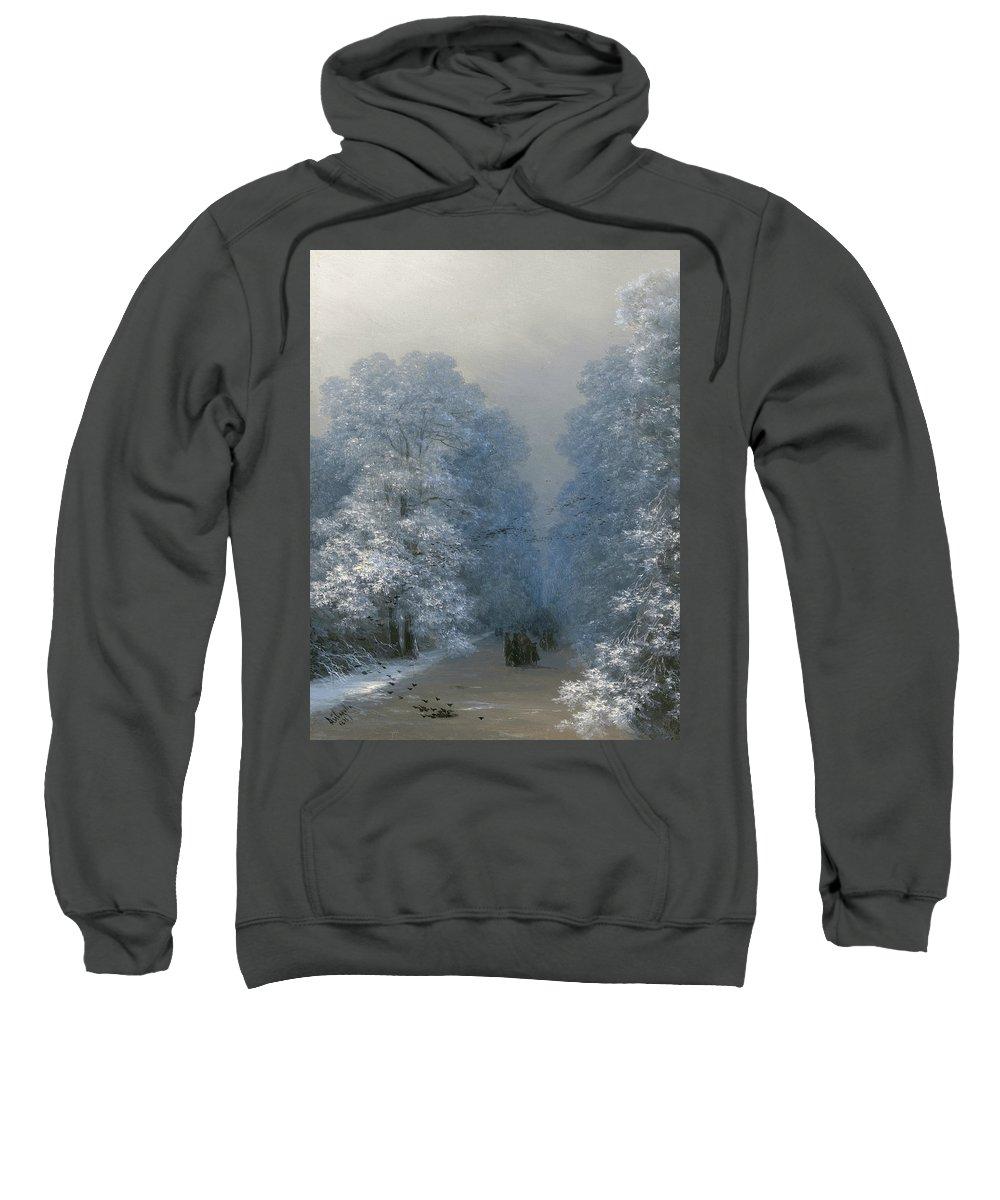 Ivan Aivazovsky Sweatshirt featuring the painting Winter Landscape by Ivan Aivazovsky