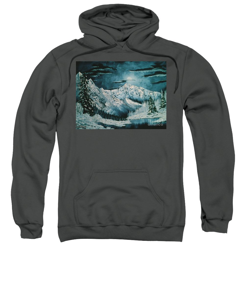 Winter Landscape Sweatshirt featuring the painting Winter Moon 2 by Jim Saltis