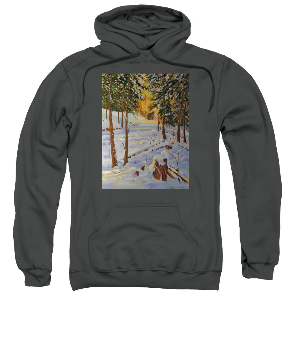 Canadian Shield Sweatshirt featuring the painting Winter On The Lane by David Gilmore