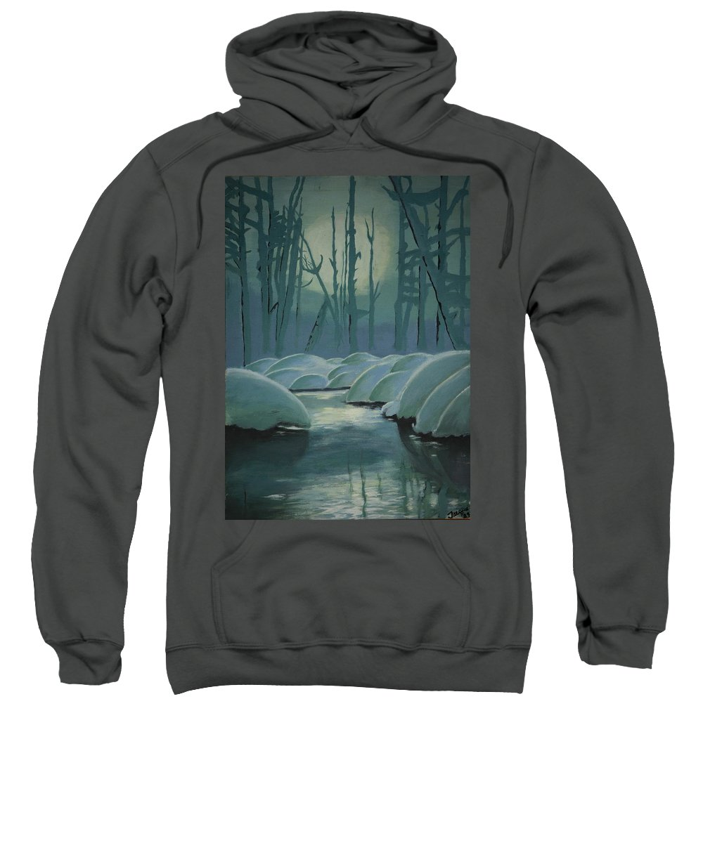 River Sweatshirt featuring the painting Winter Quiet by Jacqueline Athmann
