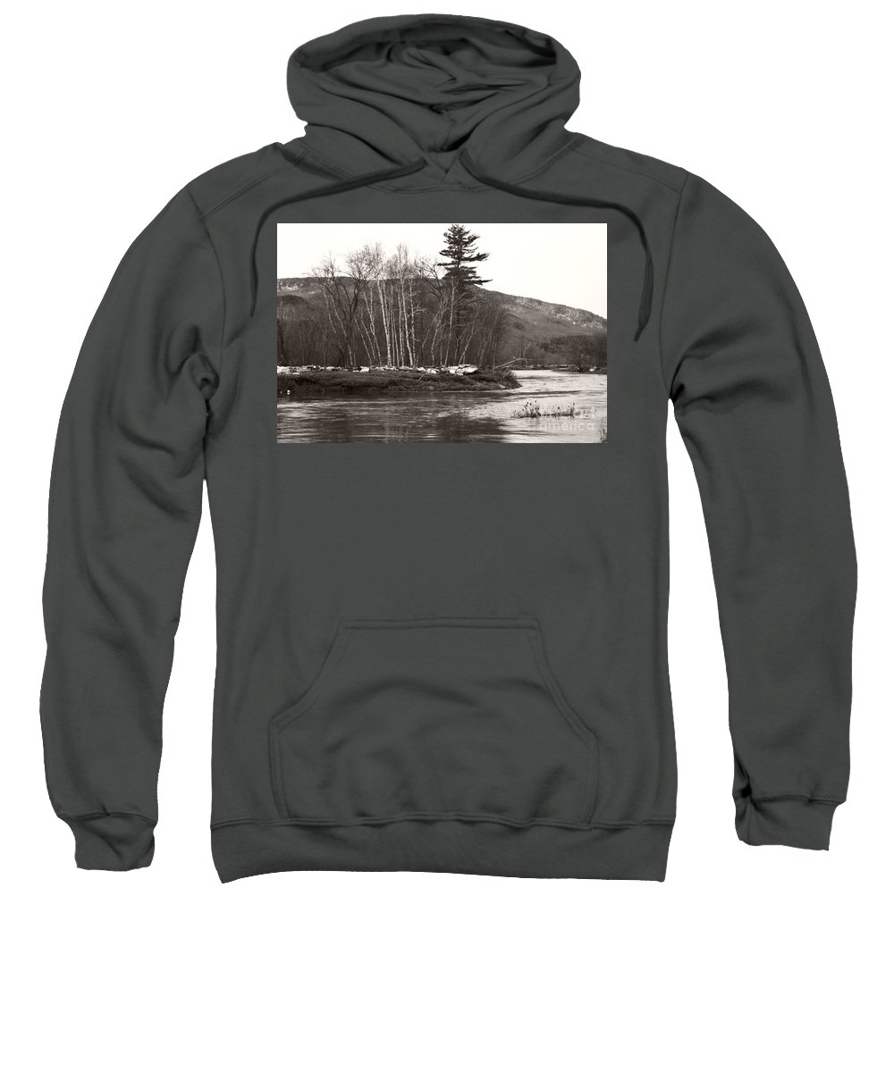 Sweatshirt featuring the photograph Winter River Number One by Heather Kirk