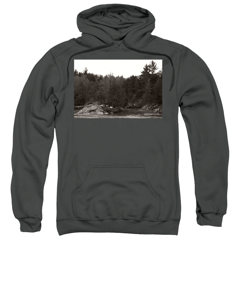 Sweatshirt featuring the photograph Winter River Number Two by Heather Kirk