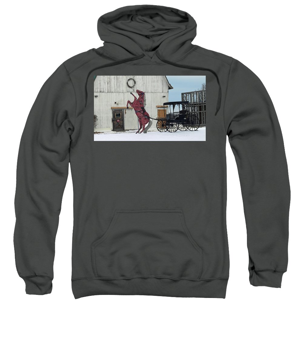 Barn Sweatshirt featuring the photograph Winter Sleigh Ride by JoAnne McNamara