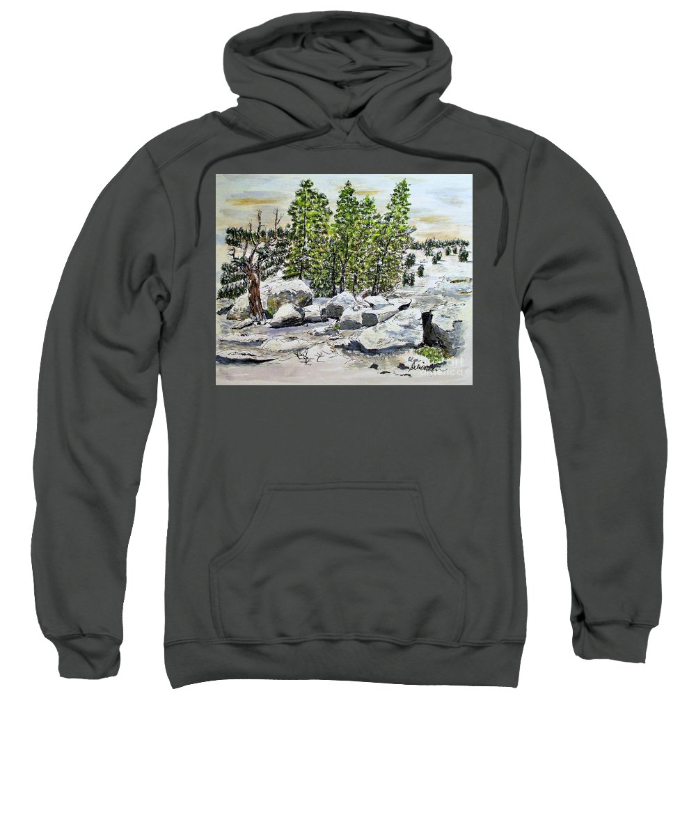 Snow Sweatshirt featuring the painting Winter Trees by Olga Silverman