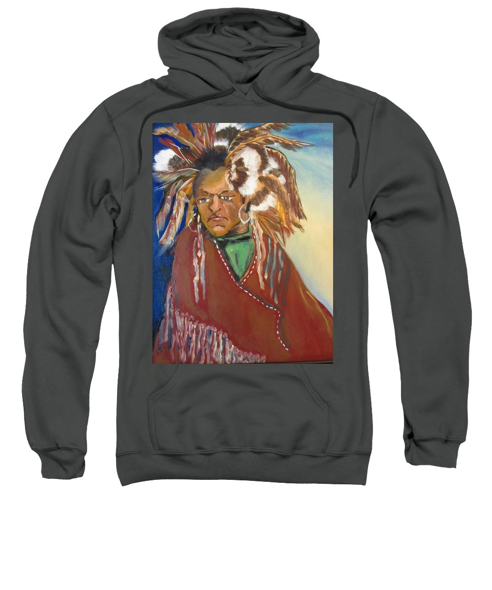 Indian Sweatshirt featuring the painting Winter's Coming by Dody Rogers