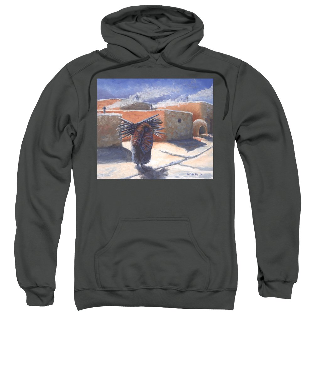 Adobe Sweatshirt featuring the painting Winter's Work by Jerry McElroy