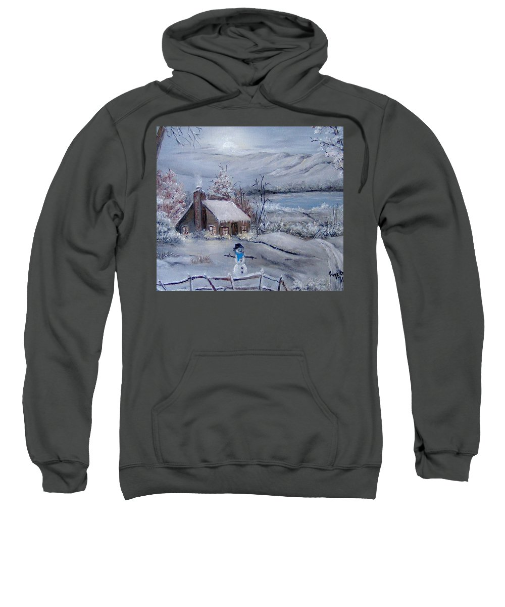Snow Sweatshirt featuring the painting Wintertime by Faye Tracy