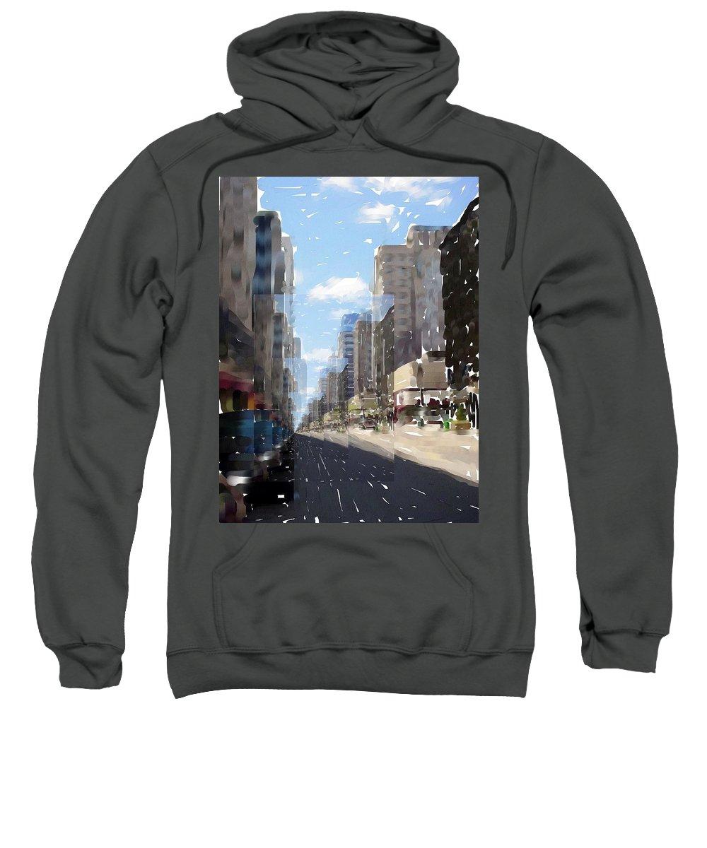 Milwaukee Sweatshirt featuring the digital art Wisconsin Ave Cubist by Anita Burgermeister