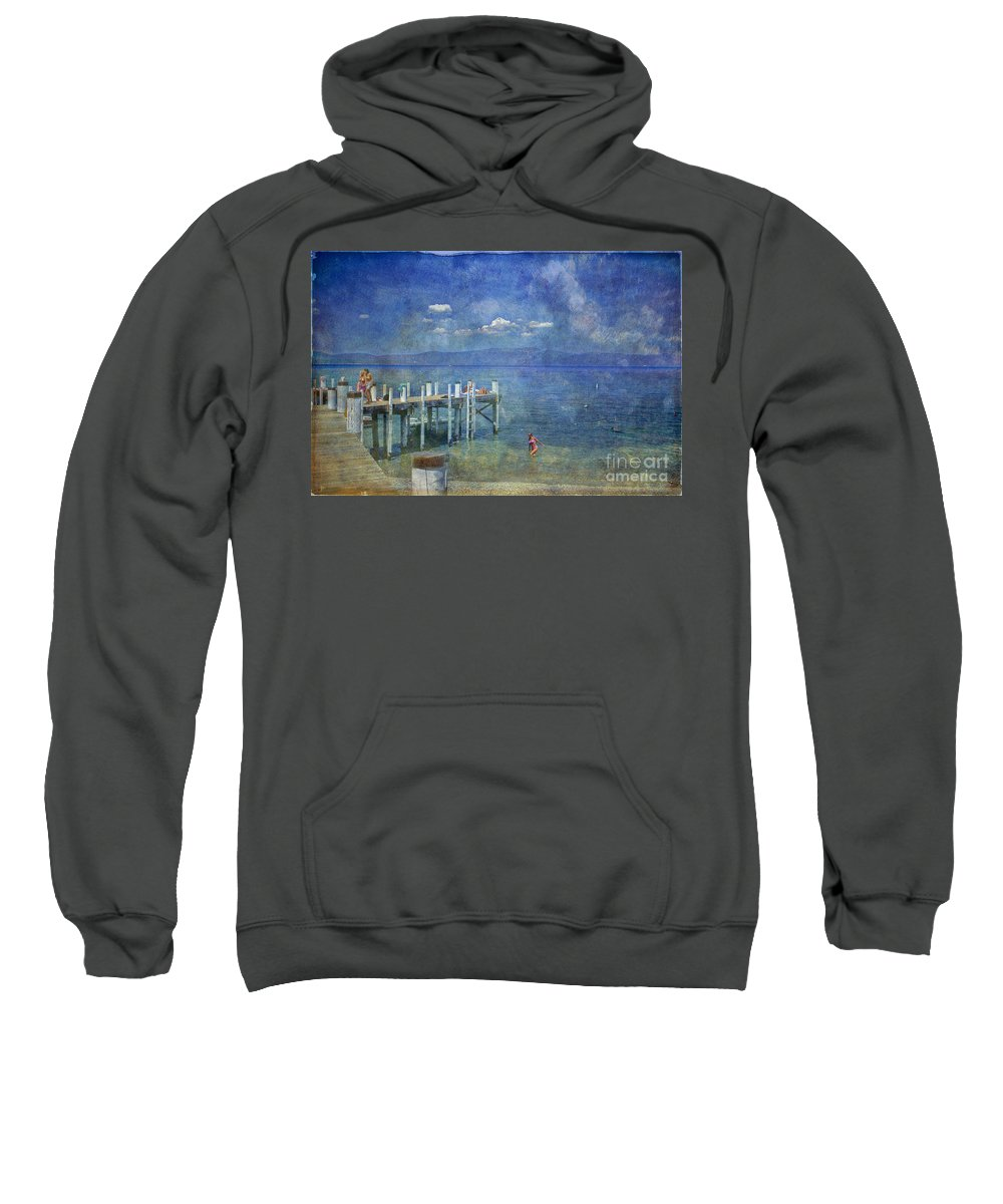 Chambers Landing Lake Tahoe Ca Sweatshirt featuring the photograph Wish You Were Here Chambers Landing Lake Tahoe Ca by David Zanzinger