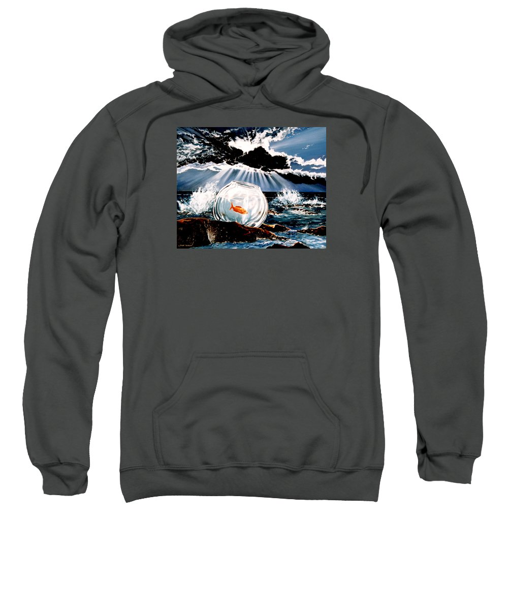 Surreal Sweatshirt featuring the painting Wish You Were Here by Mark Cawood