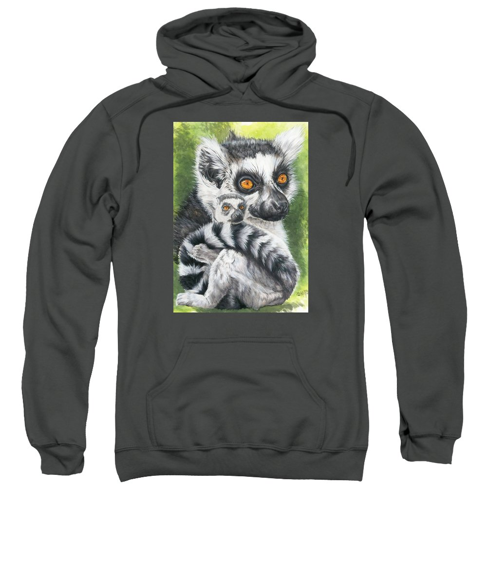 Lemur Sweatshirt featuring the mixed media Wistful by Barbara Keith
