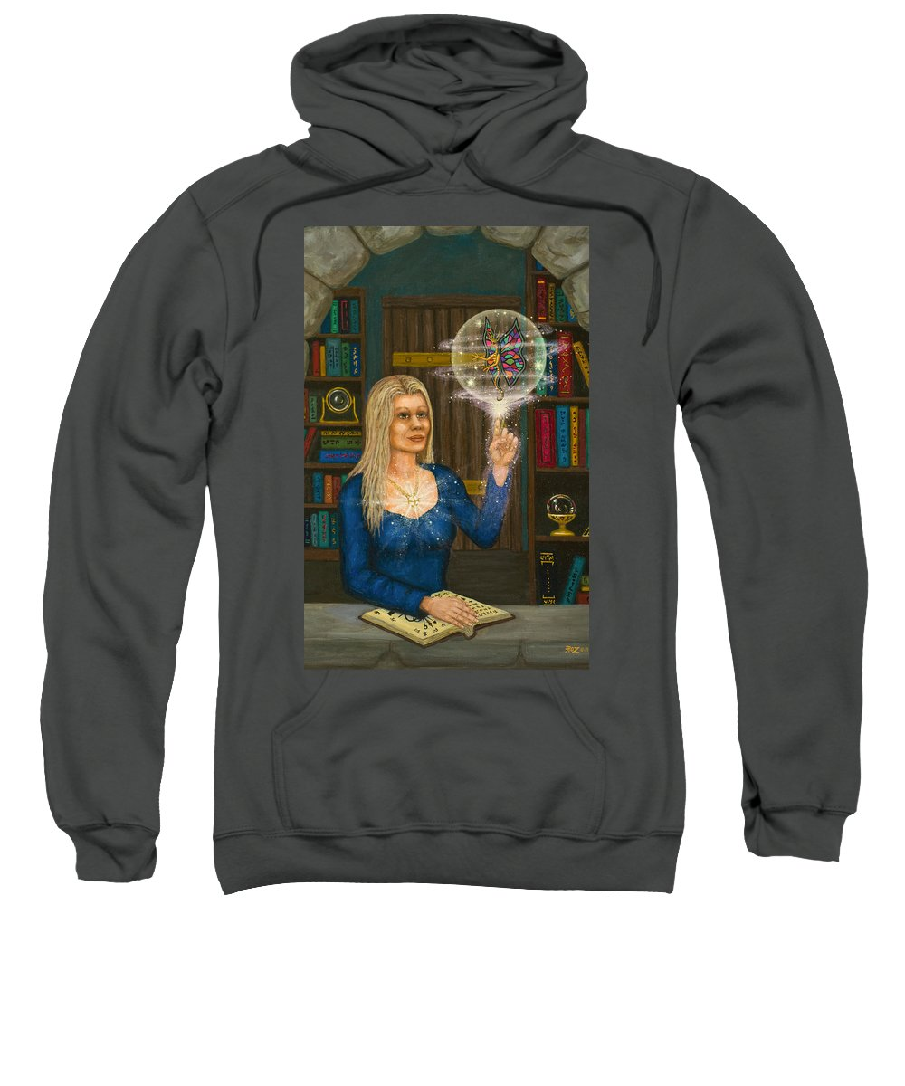 Magic Sweatshirt featuring the digital art Wizards Library by Roz Eve