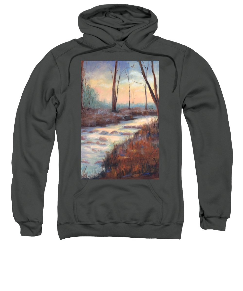 Creeks Sweatshirt featuring the painting Wolf Creek by Ginger Concepcion