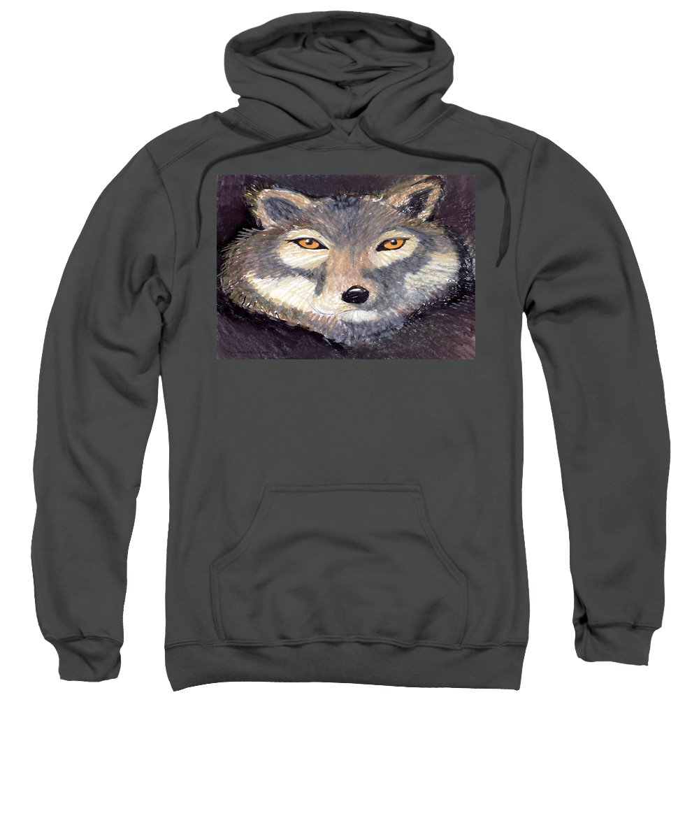 Wolf Sweatshirt featuring the painting Wolf by Kevin Middleton