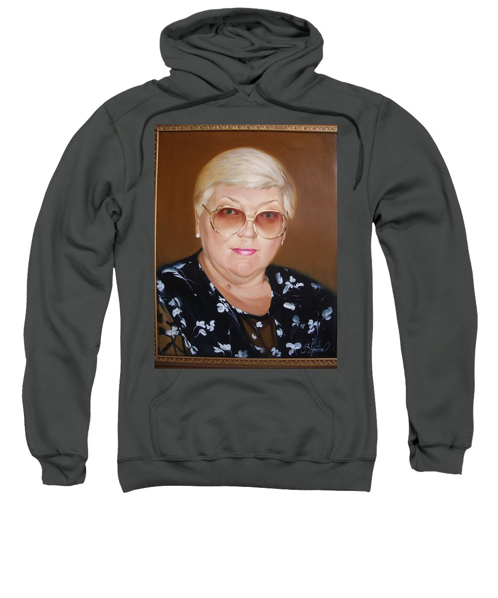 Art Sweatshirt featuring the painting Woman 1 by Sergey Ignatenko