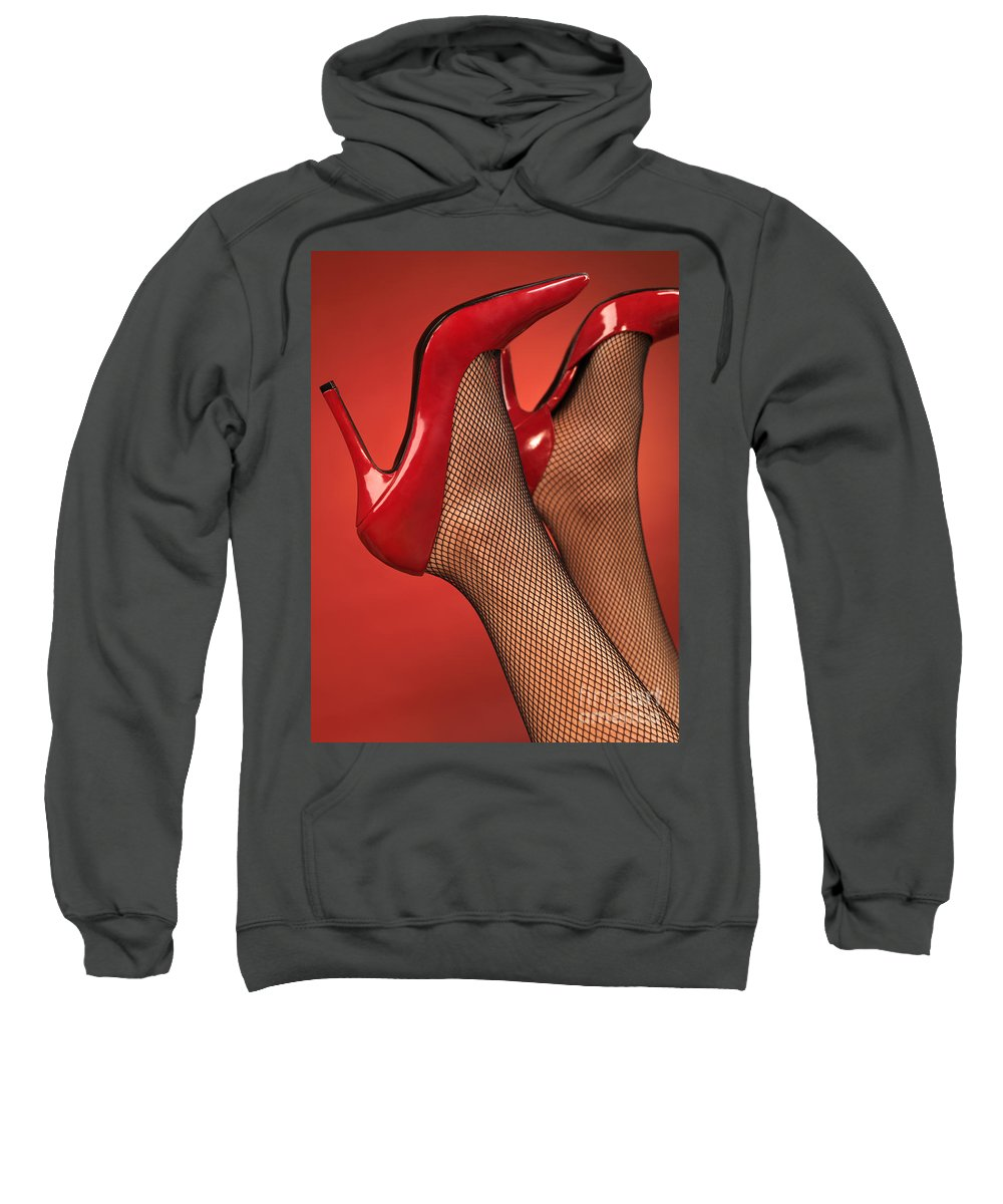 Shoes Sweatshirt featuring the photograph Woman In Red High Heel Shoes by Oleksiy Maksymenko