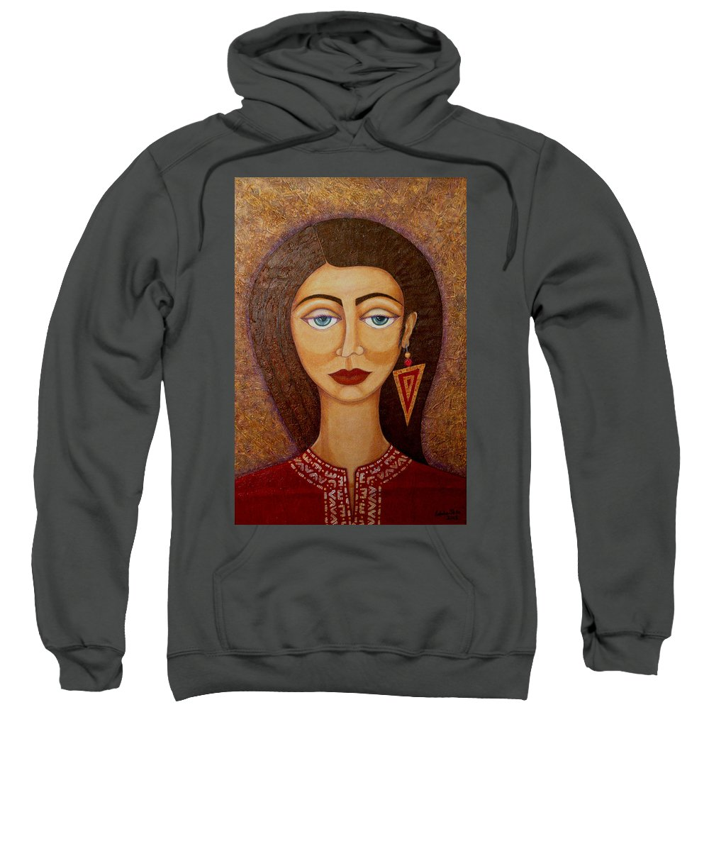 Market Sweatshirt featuring the painting Woman S Market by Madalena Lobao-Tello
